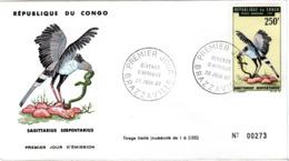 CONGO , FDC,   Bird   /  REPUBLIQUE  Du  CONGO, Lettre De Première Jour,  Oiseau  1967 - Adler & Greifvögel