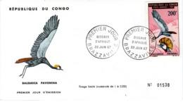 CONGO , FDC,   Bird   /  REPUBLIQUE  Du  CONGO, Lettre De Première Jour,  Oiseau  1967 - Kranichvögel