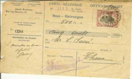 Carte-récipissé - Ontvangkaart D'ANVERS / ANTWERPEN Pour THEUX Avec Nr 144 . - Bélgica