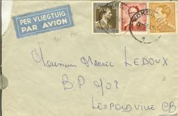 Lettre Par Avion De KOKSIJDE Pour LEOPOLDVILLE 1954 Avec Nr 845 - 847 - 925 . - Cartas