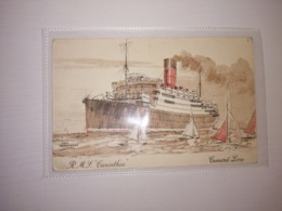 England Uncirculated Postcard - Passenger Ships - Cunard Line - RMS Carinthia - Bateaux