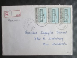 2081 - Tolleyvoertuig - Strip Van Drie Op Aangetekende Brief Uit Peruwelz Naar Grandmetz - Lettres & Documents
