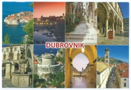 DUBROVNIK (Croatie) - Multivues (Vue Générale, Port, Vieille Rue, Fontaine, Porte, Eglise ...) -Animée -Scan Recto-Verso - Kroatië