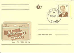 Carte Postale Avec Pub BELGACOM De NOVILLE-LES-BOIS ( Dernier Jour D'existance De Ce Bureau ) - Enteros Postales