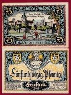 Allemagne 1 Notgeld De 75 Pfenning  Stadt Friesack (RARE)   Dans L 'état N° 4887 - [ 3] 1918-1933 : Repubblica  Di Weimar
