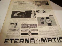 ANCIENNE PUBLICITE MONTRE ETERNA.MATIC 1960 - Bijoux & Horlogerie