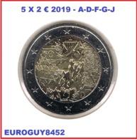 DUITSLAND - 5 X 2 € COM. 2019 UNC - 30e VERJAARDAG VAL BERLIJNSE MUUR - A-D-F-G-J - Germany