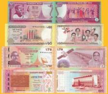 Bangladesh Commemorative Set 40, 60, 70, 100 Taka 2011-2018 UNC - Bangladesh