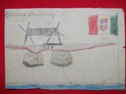 DISEGNO ANNO 1933/34 AEROPLANO  CROCIERA ATLANTICA Fatto Da Bambino - Aviazione Commerciale