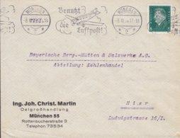 Deutsches Reich ING. JOH. CHRIST. MARTIN Oelgrosshandlung Slogan 'Benutz Die Luftpost' MÜNCHEN 1929 Cover Brief - Deutschland