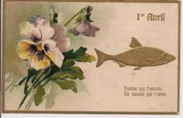 """L100d060 - Premier Avril - """"Devine Qui L'envoie..."""" - Carte Gauffrée Et Bord Doré - 1er Avril - Poisson D'avril"""