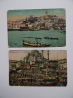 CONSTANTINOPLE Turquie Turkey 2 Cartes Postales Péra & Galata Place Onou Et Yani - Djami - Turquie