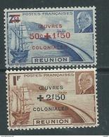 Réunion N° 249 / 50 XX  Timbres Pétain Surchargés : Les 2 Valeurs Sans Charnière, TB - Neufs