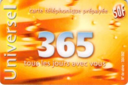 Carte Prépayée - UNIVERSEL 365 -  50 F - Frankrijk