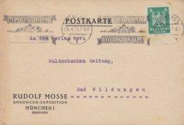 Deutsches Reich RUDOLF MOSSE Annoncen-Expedition Slogan 'Im Postauto In Die Bayerischen Alpen' MÜNCHEN 1925 Card Karte - Deutschland