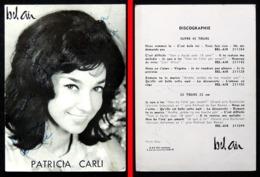 Dédicace Autographe Chanteuse Carte Publicitaire Patricia CARLI (photo Bipp)  Edition G&R JOLY à Paris Label BEL AIR - Chanteurs & Musiciens