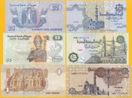 Egypt Set 25, 50 Piaster, 1 Pound 2008-2017 UNC - Egipto