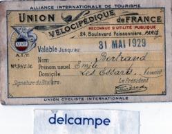 """CARTE UNION VELOCIPEDIQUE De FRANCE - Mr BERTRAND Emile - Les Essarts (Vendée)  Vélo De Course """"La Fileuse"""" - Cycling"""