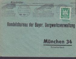 Deutsches Reich Slogan 'Deutsche Verkehrs-Ausstellung' MÜNCHEN 1925 Cover Brief HANDELSBUREAU BAYER. BERGWERKSVERWALTUNG - Deutschland