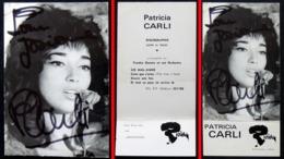 Dédicace Autographe Chanteuse Carte Publicitaire Patricia CARLI (photo Prat)  Edition G&R JOLY Paris Label RIVIERA 1966 - Chanteurs & Musiciens
