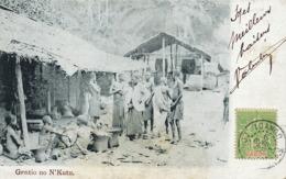 Gentio No N' Kutu  Timbre Type Groupe Gabon Cachet Loango - Angola