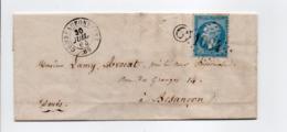 - Boite Rurale LAMBREY Via COMBEAUFONTAINE (Haute-Saône) Pour BESANCON (Doubs) 30 JUIL 1864 - - Postmark Collection (Covers)