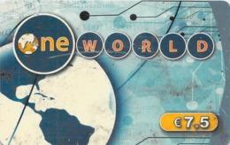 Carte Prépayée - ONE WORLD -  7.5 € - France