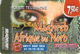 Carte Prépayée - IRADIUM - MAGHREB AFRIQUE DU NORD  -  7.5 € - France