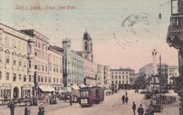 Linz * Franz Josef Platz, Tram, Markt, Geschäfte * Österreich * AK1442 - Linz