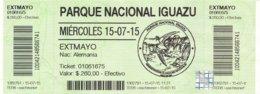 Argentinien Iguazu Eintrittskarte 2015 Parque Nacional Wasserfälle UNESCO - Welterbe - Eintrittskarten