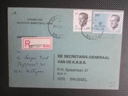 2137 - Velghe - Iop Aangetekende Kaart Uit Velzeke - Aantekenstrookje Zottegem - Basketbal KBBB - 1981-1990 Velghe