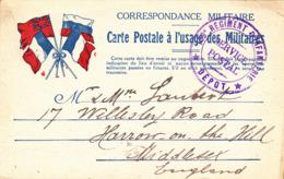 CPA GUERRE 1914 1918 - DRAPEAUX ALLIES Belgique France Angleterre Russie - Correspondance Militaire - Cachet Postal - War 1914-18