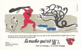 BUVARD  - LA VACHE QUI RIT -  LES TRAVAUX D'HERCULE N° 5  -  DESSINATEUR PAUL GRIMAULT -  TRES BON ETAT - Dairy