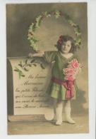 """ENFANTS - LITTLE GIRL - MAEDCHEN - Jolie Carte Fantaisie Fillette Et Fleurs """"Ma Bonne Marraine ..."""" - Portraits"""