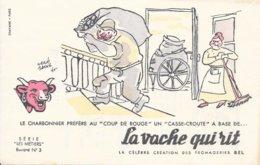 BUVARD  - LA VACHE QUI RIT -  LES METIERS    N° 3 - LE CHARBONNIER   -  DESSINATEUR  HERVE BAILLE  -  TRES BON ETAT - Dairy