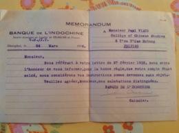 Viaud Consul De France 1936 Banque De L'indochine  Peiping - Old Paper