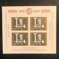 Schweiz Pro Patria 1960 Block Zumstein-Nr. 102 * Ungebraucht Mit Falz - Pro Patria