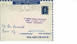 LETTRE AVIATION , 1952 , 1 ERE LIAISON POSTALE AF / ALGER,EL.GOLEA.ADRAR.AOULEF.TAMARASSET - Algeria (1924-1962)
