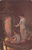 NACH DEM BADE - Künstlerkarte Paul Peel London 1861-1892, Ecken Bestossen - Künstlerkarten