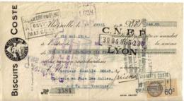 Lettre De Change Ou Traite Des BISCUITS COSTE à Marseille Du 27 Avril 1934 Avec Timbre Fiscal VOIR ZOOM En-tête - Wissels