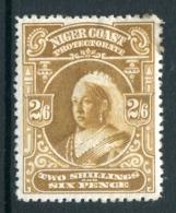 Niger Coast - Nigeria 1894 QV - Wmk. Crown CA - 2/6 Olive-bistre (p.13½-14) HM (SG 73b) - Nigeria (...-1960)