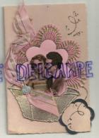 Couple. Fantaisie. Collage. Ruban, Panier Doré. Double. 9/14 Cm - Couples