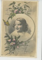 ENFANTS -  Jolie Carte Fantaisie Portrait Enfant Dans Cadre Avec Fleurs Et Papillon - Portraits
