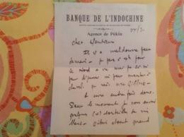 Banque De L'indochine Agence De Pékin Vers 1936 - Oude Documenten