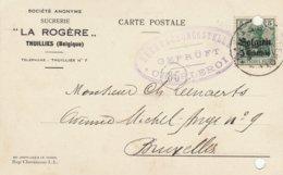 """Carte Postale  Sucrerie """"La Rogère"""" à Thuillies - Censure Charleroi -Trous De Classement - Oorlog 14-18"""