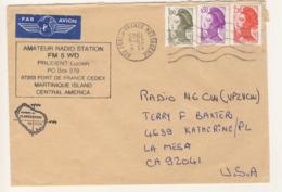 (Z09) - Y&T N°2319+2185+2184 - LETTRE AVION FORT DE FRANCE MESSAGERIE MARTINIQUE => USA 1985 - Covers & Documents