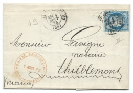 N°60 BLEU CERES SUR LETTRE / VITRY LE FRANCOIS POUR THIEBLEMONT / 1876 - Postmark Collection (Covers)