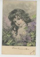 ENFANTS - LITTLE GIRL - MAEDCHEN - Jolie Carte Fantaisie Fillette Et Fleurs Lilas - Portraits