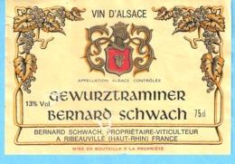 Etiquette-Vin D'Alsace-Gewurztraminer-Bernard Schwach , Viticulteur à Ribeauvillé - Gewurztraminer