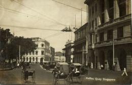 Singapore, Raffles Quay, Rickshaw, Car (1920s) RPPC Postcard - Singapore